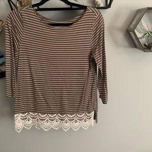 Brown and Cream Top